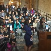 A gathering of moms and allies advocating for paid family and medical leave in Olympia, Washington